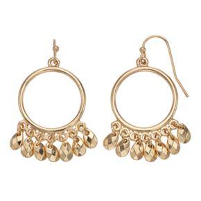 LC Lauren Conrad Teardrop Fringe Nickel Free Hoop Drop Earrings