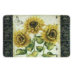 Bacova French Sunflower Memory Foam Kitchen Rug