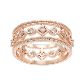 LC Lauren Conrad Cubic Zirconia Geometric Milgrain Ring