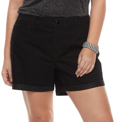 Plus Size Jennifer Lopez Cuffed Jean Shorts