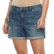 Plus Size Jennifer Lopez Cuffed Jean Shorts