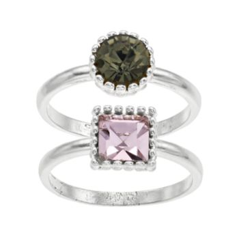 LC Lauren Conrad Round & Square Ring Set