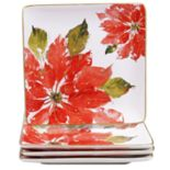 Certified International Home for the Holidays 4 pc Poinsettia Dinner Plate Set