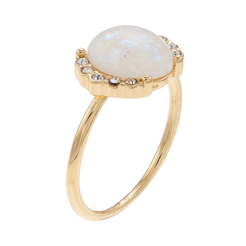 LC Lauren Conrad Simulated Opal Halo Ring
