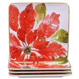 Certified International Home for the Holidays 4 pc Poinsettia Dessert Plate Set