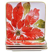 Certified International Home for the Holidays 4-pc. Poinsettia Dessert Plate Set