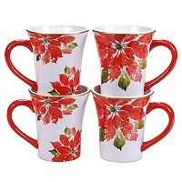 Certified International Home for the Holidays 4 pc Poinsettia Mug Set