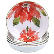 Certified International Home for the Holidays 4 pc Poinsettia Soup / Pasta Bowl Set