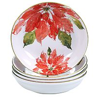 Certified International Home for the Holidays 4-pc. Poinsettia Soup / Pasta Bowl Set