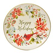 Certified International Home for the Holidays Poinsettia & Cardinal Round Platter