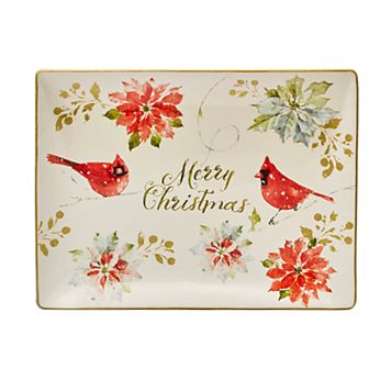 Certified International Home for the Holidays Poinsettia & Cardinal Platter