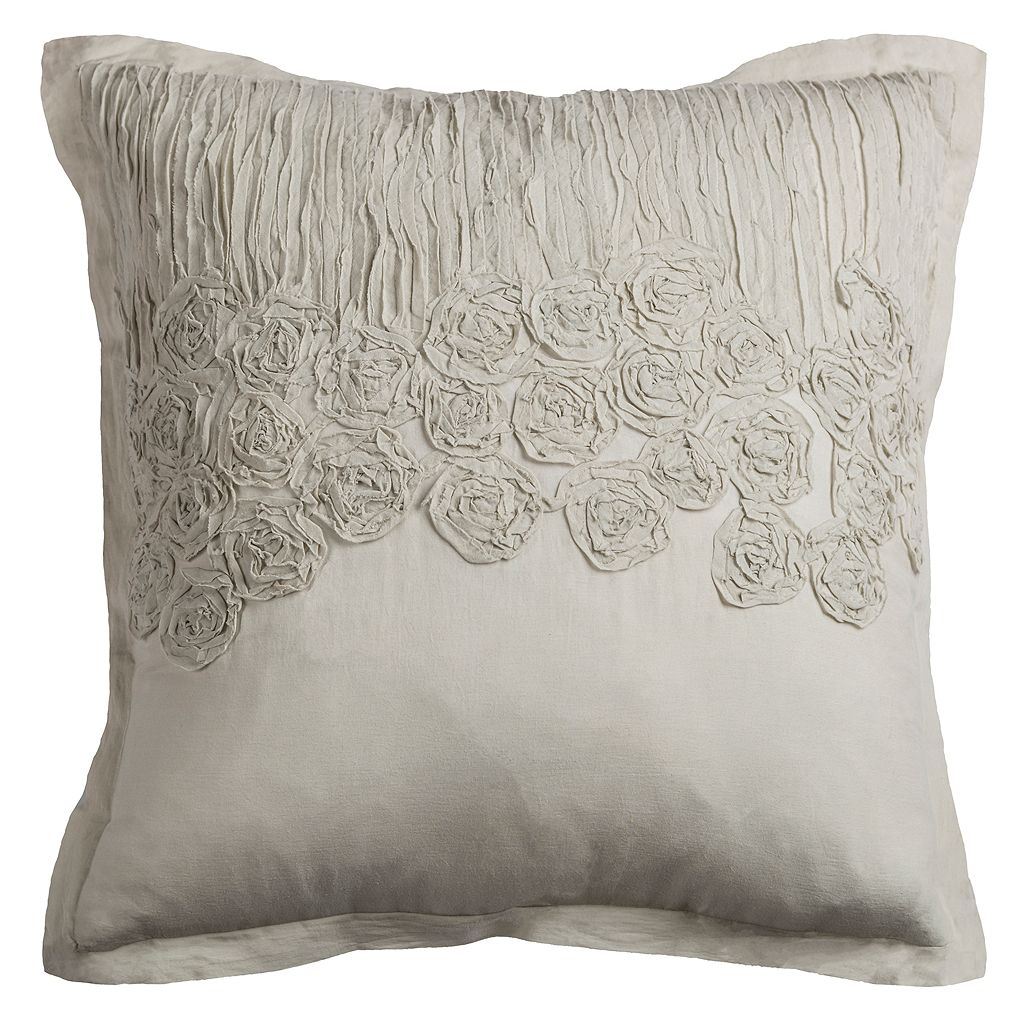 Rizzy Home Crinkled Floral Throw Pillow