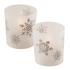 LumaBase Snowflake LED Candle 2 pc Set
