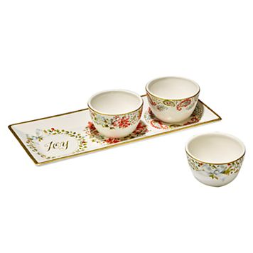 Certified International Home for the Holidays 4-pc. Poinsettia Serving Set