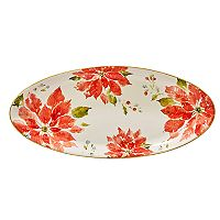 Certified International Home for the Holidays Poinsettia Oval Platter