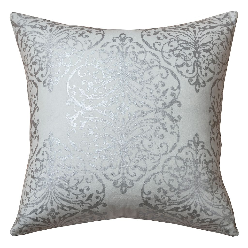 Rizzy Home Metallic Damask Throw Pillow