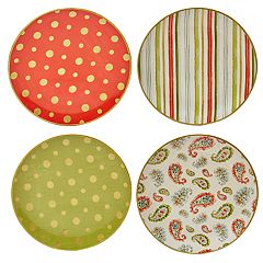 Certified International Home for the Holidays 4 pc Dessert Plate Set
