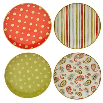 Certified International Home for the Holidays 4-pc. Dessert Plate Set
