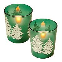 LumaBase Pine Tree LED Candle 2 pc Set