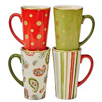Certified International Home for the Holidays 4 pc Mug Set