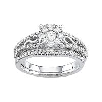Boston Bay Diamonds 10k White Gold 3/4 Carat T.W. Diamond Cluster Engagement Ring Set