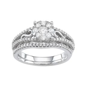 Boston Bay Diamonds 10k White Gold 3/4 Carat T.W. Diamond Cluster Engagement Ring Set
