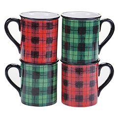 Certified International Winter's 4-pc. Plaid Mug Set