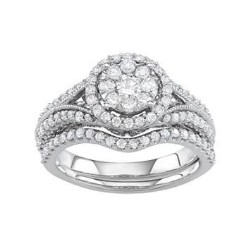 Boston Bay Diamonds 10k White Gold 1 Carat T.W. Diamond Halo Engagement Ring Set