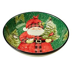 Certified International Winter's Plaid Santa Serving / Pasta Bowl