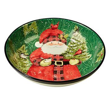 Certified International Winter's Plaid Santa Serving / Pasta Bowl