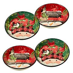 Certified International 4-pc. Winter's Plaid Soup / Pasta Bowl Set