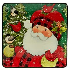 Certified International Winter's Plaid Santa Square Platter