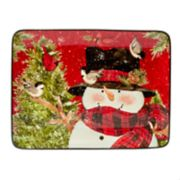 Certified International Winter's Plaid Snowman Rectangular Platter