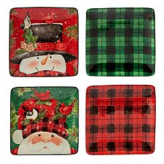 Certified International Winter's Plaid Holiday 4-pc. Canape Plate Set
