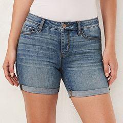 Women's LC Lauren Conrad Faded Cuffed Jean Shorts