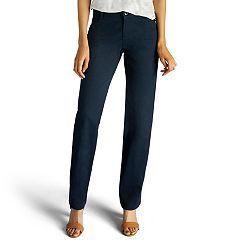 Petite Lee Plain Front Straight-Leg Pants