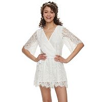 Juniors' Three Pink Hearts Lace Romper