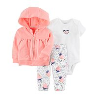 Baby Girl Carter's Strawberry Bodysuit, Hooded Cardigan & Leggings Set