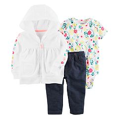 Baby Girl Carter's Floral Bodysuit, Hooded Cardigan & Jeggings Set