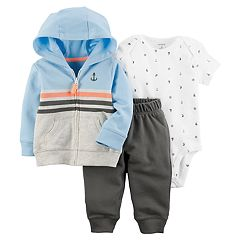 Baby Boy Carter's Colorblock Hooded Cardigan, Nautical Bodysuit & Pants Set