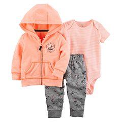 Baby Boy Carter's Striped Bodysuit, Hooded Cardigan & Treasure Island Pants Set