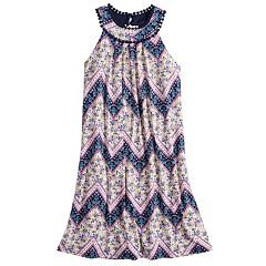 Girls 7-16 Three Pink Hearts Chevron Trapeze Dress