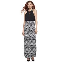 Juniors' Three Pink Hearts Print Maxi Dress