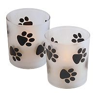 LumaBase Paw Print LED Candle 2 pc Set