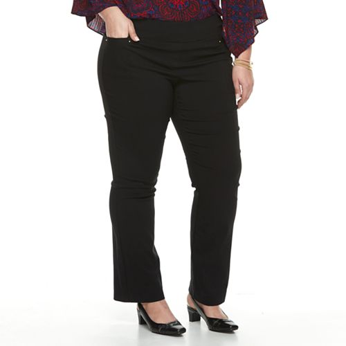 Plus Size Dana Buchman Pull-On Baby Bootcut Pants