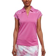 Women's Pebble Beach Mesh Print Short Sleeve Golf Polo