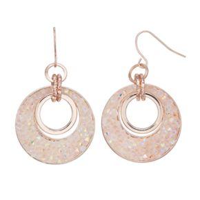 Pink Drusy Nickel Free Hoop Drop Earrings