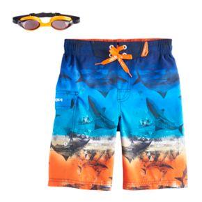Boys 4-7 ZeroXposur Shark Swim Trunks with Goggles