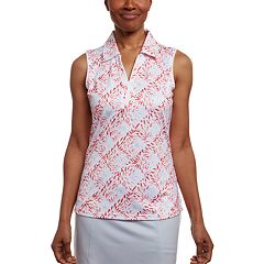 Women's Pebble Beach Desert Flower Print Sleeveless Golf Polo