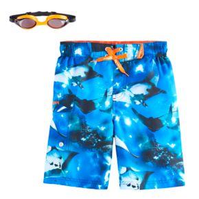 Boys 4-7 ZeroXposur Sting Rays Swim Trunks with Goggles